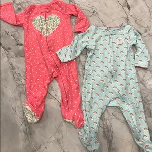 Carter's infant Girls 2 Pack footed Pajamas